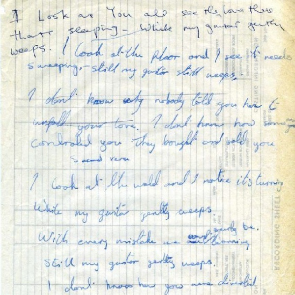 Beatles, all'asta il manoscritto di 'While My Guitar Gently Weeps'